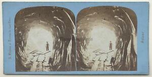 Grotte A Ghiacciaio Da Grindelwald Suisse Foto A. Braun Vintage Stereo Albumina