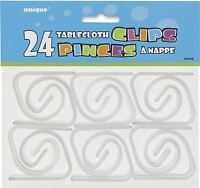 24 Clear Plastic TABLE-COVER CLIPS Accessories, All Occasions and Unique