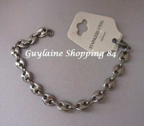 Bracelet bijou homme ado mixte grain de café acier inoxydable argenté 0,8 cm