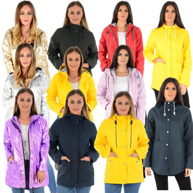 dc0776664 Ladies Womens Girls Rubberised Waterproof Rain Coat PU PVC Hooded Parka  Jacket