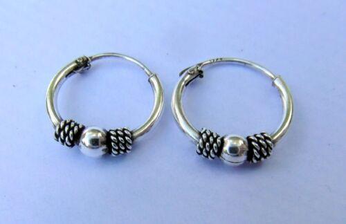 Paire Argent Sterling Style Bali Boucles D/'oreilles Créoles 12 mm Tout Neuf