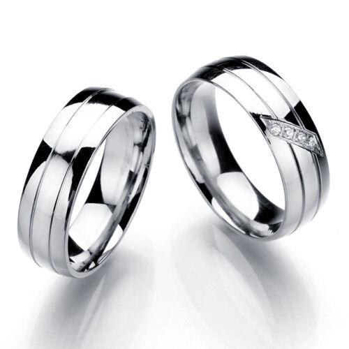 Femmes Hommes En Acier Inoxydable Anneau Mariage Anneau Couple Taille marier 16-22