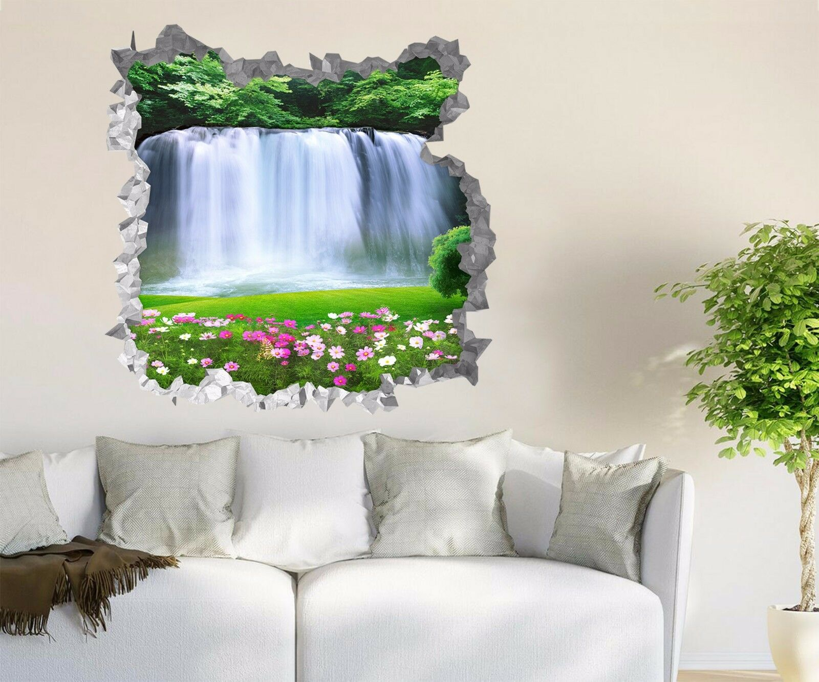3D Flowers Wasserfall 98 Wall Murals Wall Stickers Decal Durchbruch AJ WALL CA