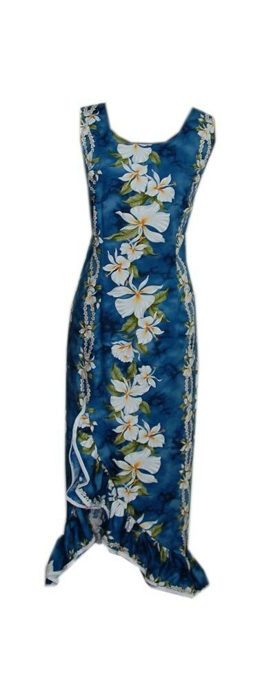 Ladies Ruffle Hula Dance Blau Ginger Flower Long Hawaiian Tank Dress-XS-3XL