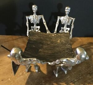 Spooky-Night-Halloween-METAL-Candy-Bowl-Platter-with-4-SKELETONS