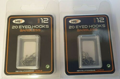 40 Barbless Eyed Fishing Hooks Size 12 NGT Carp Coarse Tackle