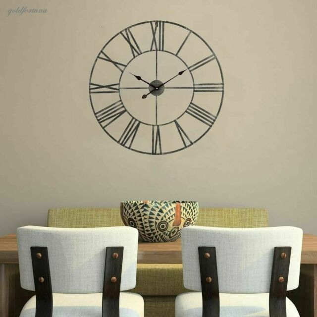Oversized Wall Clock 30 Inch Large Metal Indoor Home Decor Art Roman Numerals