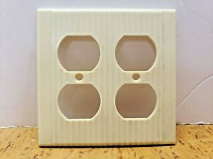 Ivory Vintage NOS Ribbed LEVITON Two Gang Receptacle Wall Plate