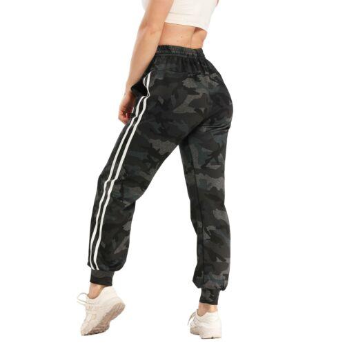 Damen Camouflage Tasche Sport Hose Loose Leggings Hohe Taille Jogginghosen