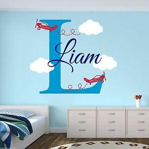 Custom airplane name wall decal boys room decor for Airplane wall decoration