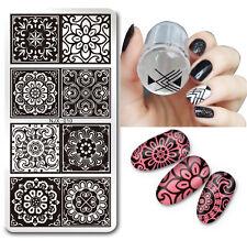 2stk/set Nagel Kunst Stamping Schablone Platte mit Jelly Stempel Stamper Tool