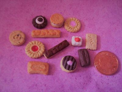 12pcs Miniature Biscotti Cookie Bambole Cibo Bambola Scala 6th-mostra Il Titolo Originale