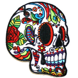 White-Sugar-Skull-Iron-On-Patch-Embroidered-Sew-On-Day-of-the-Dead