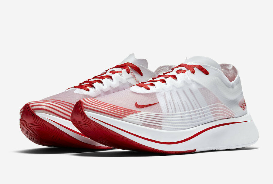 NEW NIKE MENS SIZE 9 NIKE RUNNING ZOOM FLY SP RUNNING NIKE SHOES AJ9282 100 WHITE-RED-ROUGE 5176f0