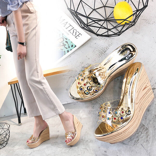 Sandale eleganti sabot zeppa ciabatte 9 oro comodi simil pelle colorati 9818