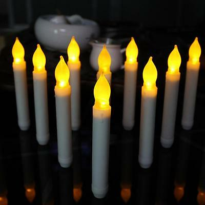 Set of 12 Flameless LED Taper Candles Ivory Mini Wax Dipped Flickering Amber