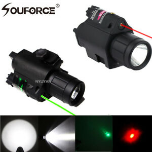 LED-Flashlight-Tactical-Torch-amp-RED-Green-Laser-Sight-20mm-Picatinny-Rail-F-Rifle