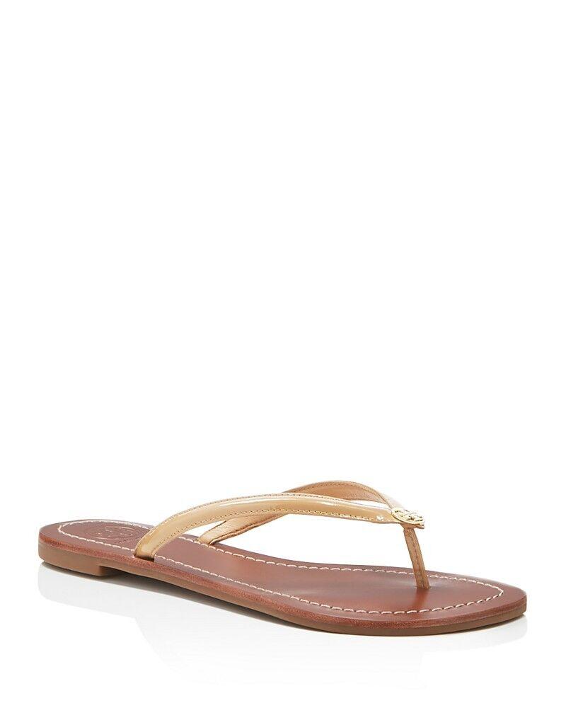 NIB Tory Burch Terra Flat Patent Thong Sandals SUN BEIGE 9.5 M