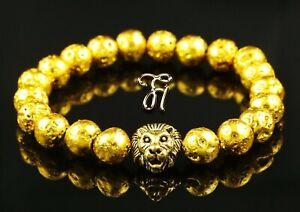 Lava-Galvanised-Gold-Gold-Coloured-Lionhead-Bracelet-Pearl-Bracelet-8mm