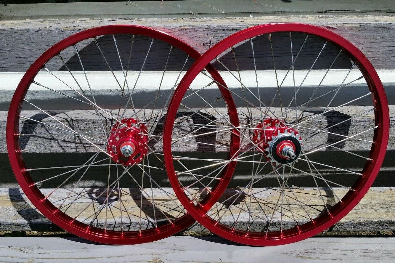 20  7X style Sealed Road Flange BMX Wheels w   16t Freewheel Pair Red Anodized  creative products