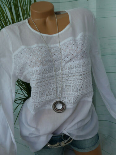 839 Heine Bluse Damen Spitzenbluse Shirt weiß Gr 38 bis 46 Spitze