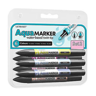Letraset Aquamarker 6 Pen Promarker Aqua Marker Set 2