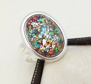 Vintage-1950s-Red-Flash-Fire-Glass-Opal-Silver-Plated-Adjustable-Ring