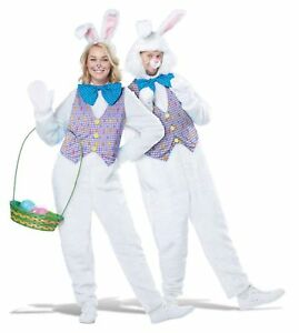White-Easter-Bunny-Rabbit-Mascot-Adult-Costume-Vest-Comes-With-2-Headpieces
