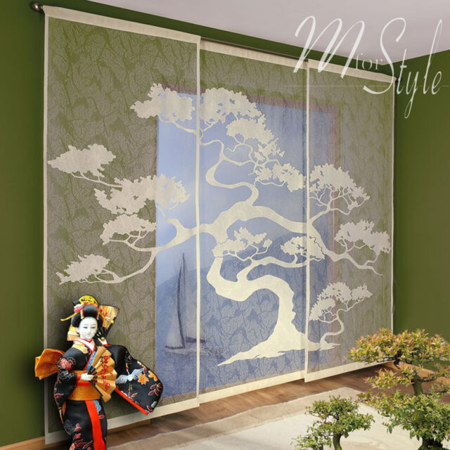 Set of 3 Net Sheer Window Panels Blinds Curtains Fly Screen Bonsai Tree