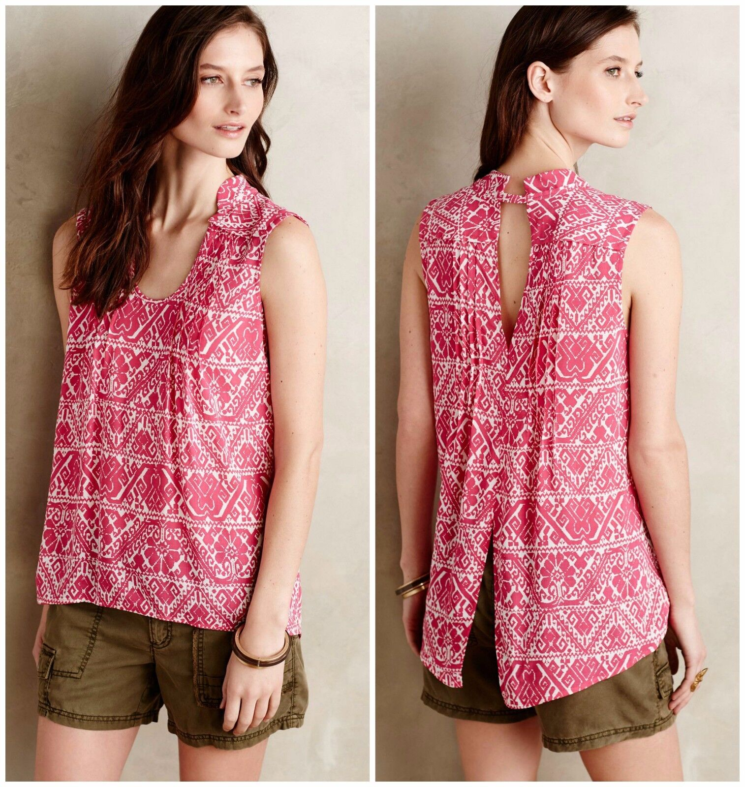 NEW Anthropologie Minna Tank by Plenty by Tracy Reese, L , PInk, Peekaboo back