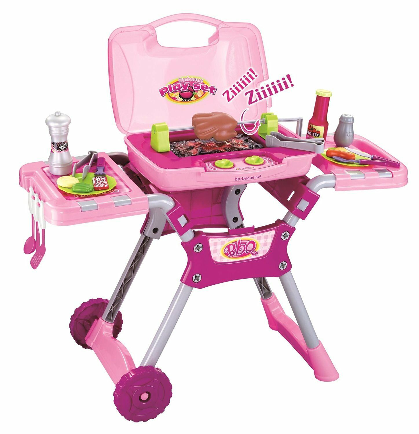 Pink Light & Sound BBQ Food Cooking Little Chef Pretend Role Play Set