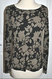 CHICOS-DESIGN-Black-FLORAL-PRINT-Boat-Neck-JERSEY-LONG-SLEEVE-TOP-euc-SMALL