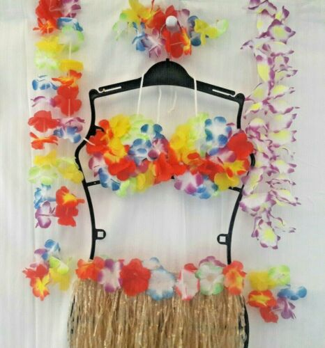 Floral Bra Hawaiian Luau Costume 7Pc Grass Skirt Natural Color Arm//Neck Leis