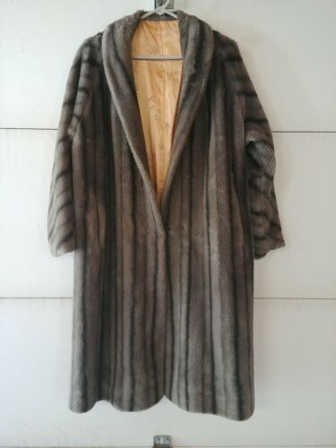 Vintage Faux Fur Gray/Silver Full lenght Coat, #03