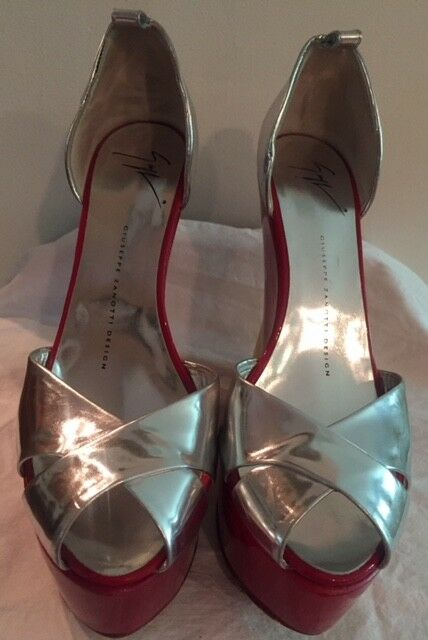 Giuseppe Zanotti 39 9 Silber rot GelbLeather Patent Leather Sandals Sandals Sandals Platform 0fc2e5