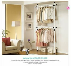 Image Is Loading Wangja Hanger Double Rod Closet Garment Rack Adjustable