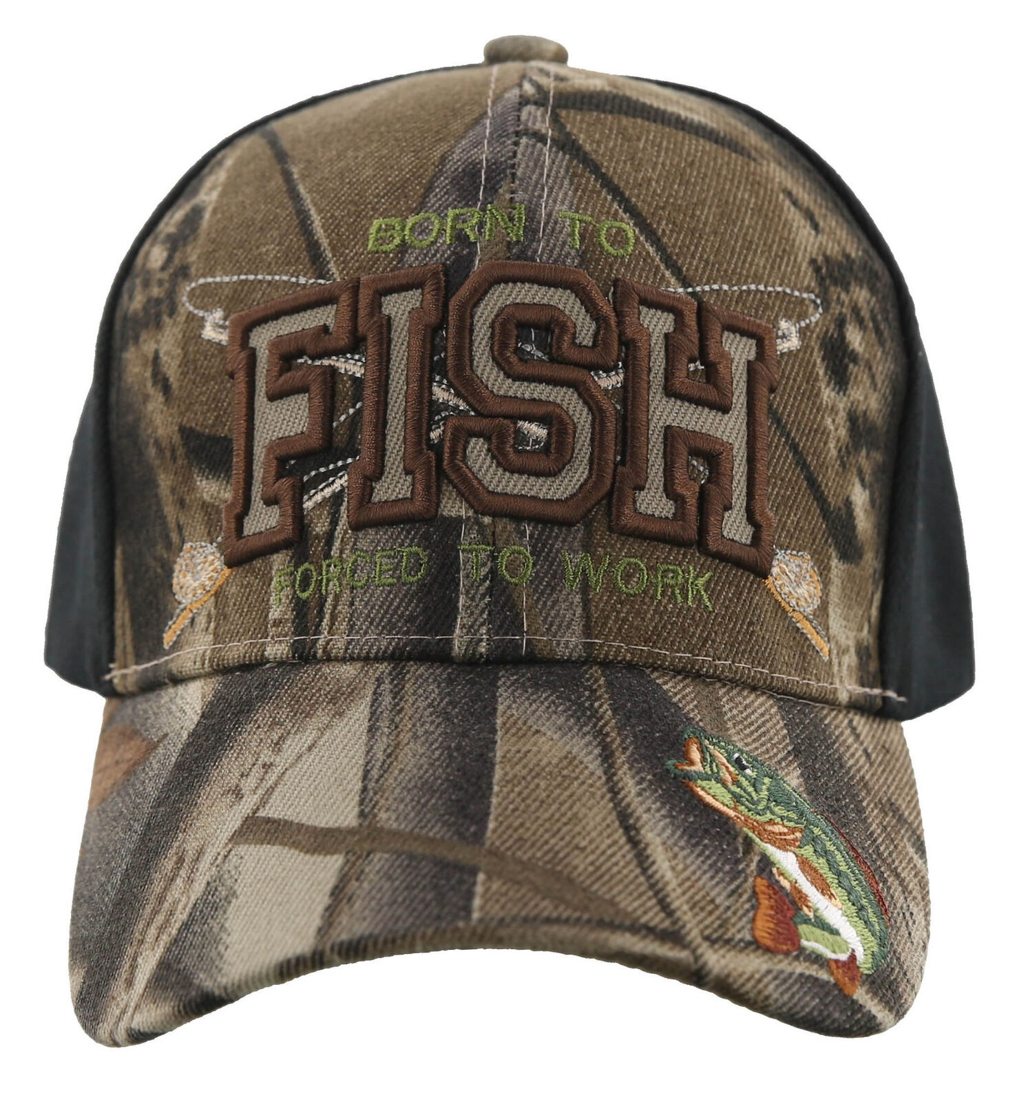 ! nuevo! nacido Para Pescar obligados a trabajar al aire libre Pesca Deportiva Gorra Sombrero Camo