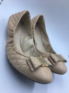COLE-HAAN-Tali-metallic-bow-quilted-ballet-flat-shoes-nude-USA-women-s-9-5-B