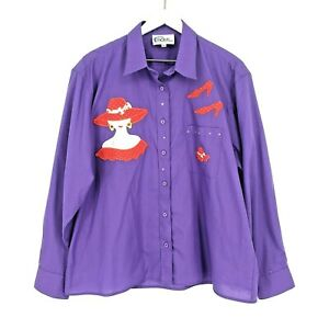 Las-OLas-by-Oved-Int-Button-Down-Embroidered-Shirt-Size-XL-Purple-Red-Hat-Ladies