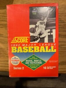 1992-SCORE-BASEBALL-SERIES-2-SEALED-FACTORY-BOX-MANTLE-MUSIAL-YAZ-AUTO-POSSIBLE