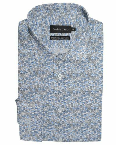 Double Two Cotton Easy Care LS Printed Formal Shirt in bluee(3662),Collar 15-23