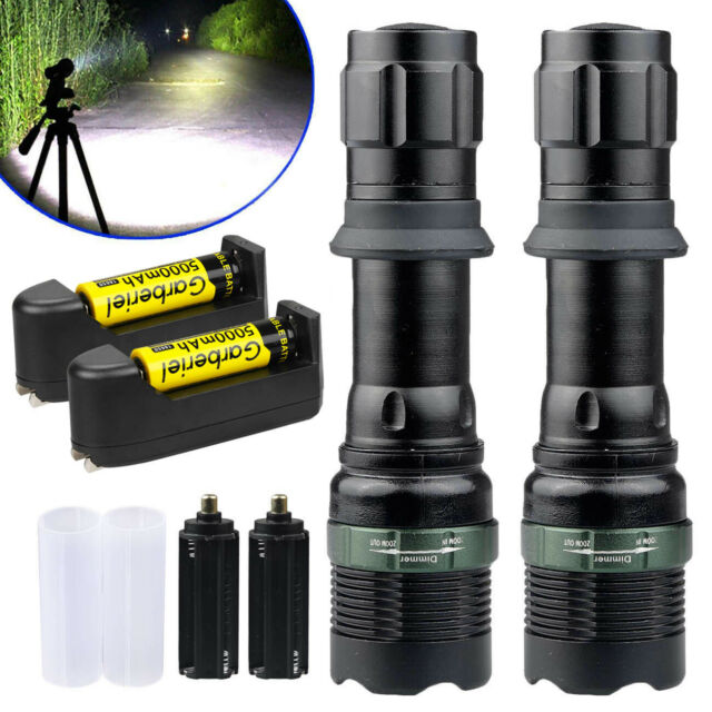 2 x 90000Lumens Tactical T6 Zoomable LED Flashlight Torch +18650 Battery+Charger