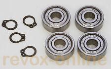 4 Kugellager, Motorlager 608ZZ + 4 Sicherungsringe für Revox B77 MK II