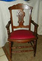 Walnut Carved Eastlake Armchair / Desk Chair  (AC15)
