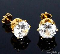 8MM ROUND CUT DIAMANTE CUBIC ZIRCONIA CZ 18K YELLOW GOLD PLATED STUD EARRINGS