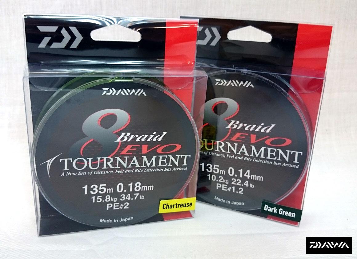 NUOVO Daiwa Tournament EVO 8 Braid 135M Spool tutti i colorei e rompere CEPPI