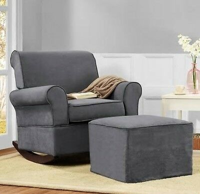 Surprising Gray Rocker Chairs Or Ottoman Rocking Chair Nursery Furniture Baby Kids Relax Ebay Cjindustries Chair Design For Home Cjindustriesco