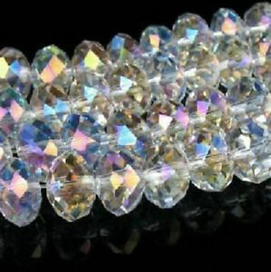 1,000pc Faceted Rondelle glass crystal 4x6mm Beads White AB