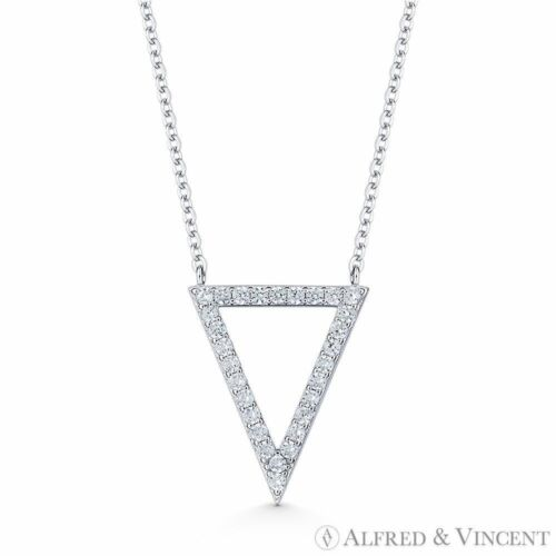 Reverse Open-Triangle Charm CZ Crystal Pave 925 Sterling Silver Necklace Pendant