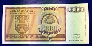 100000  DINARA  1993 P 141 Uncirculated Banknotes BOSNIA